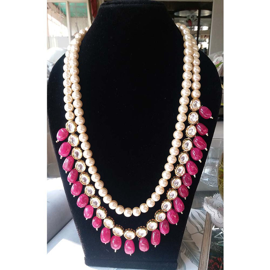 Three String Pearl and Ruby Red Necklace - Adrisya