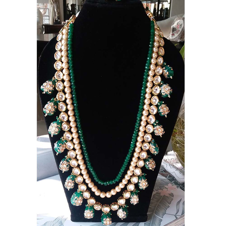 Three String Pearl and Green Stone Necklace - Adrisya