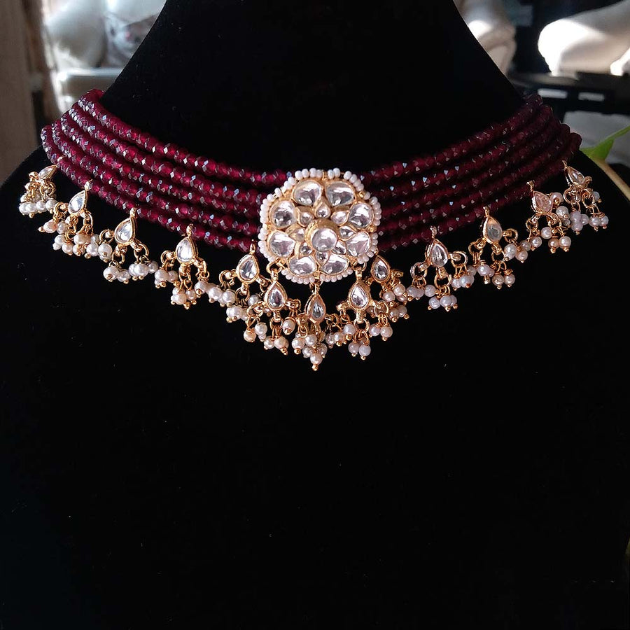 Maroon Beaded Kundan Choker Necklace - Adrisya