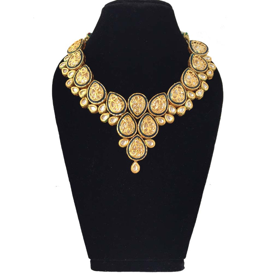 Dark Blue Kundan Necklace - Adrisya