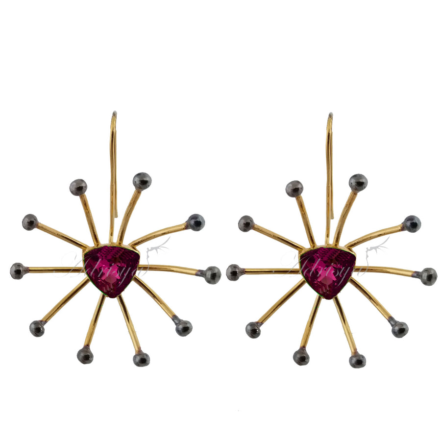 Pink Swarvoski Star Earrings - Adrisya