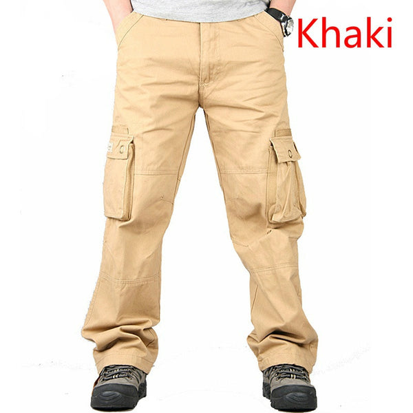 Casual Multi Pockets Overalls Loose Trousers Mens Casual Cotton Outdoors Pants,Black,30