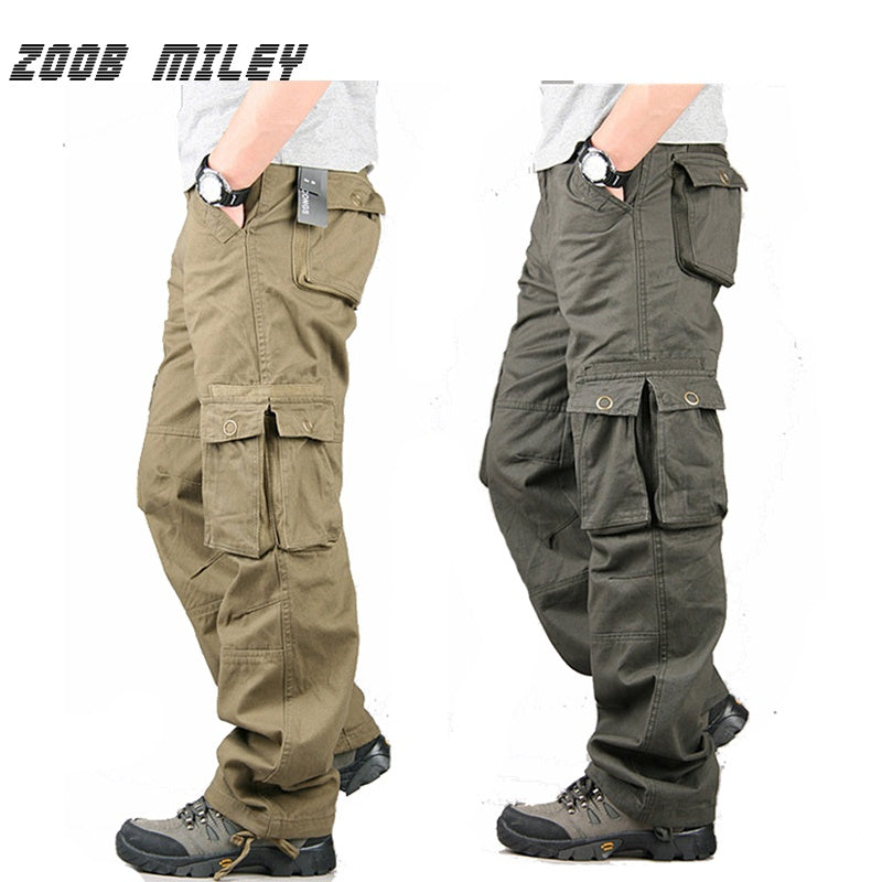 f2f49cfeda4 ... Men Cargo Pants Military for Men Multi Pockets Overalls Loose Fit  Cotton Causal Work Trousers Plus ...