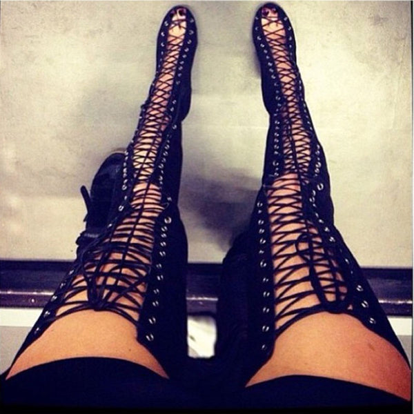 832d97950b ... Sexy Black High Heels Gladiator Shoes Woman Peep Toe Lace Up Thigh High  Boots Summer Cut ...