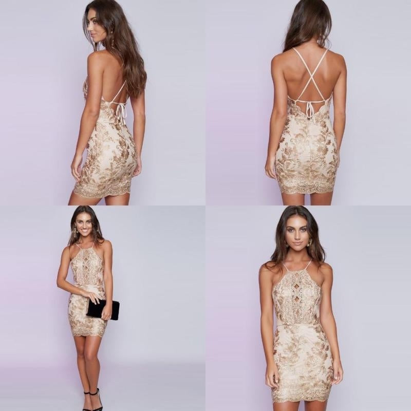 Brand New Women Bodycon Dress Embroidery Backless Sleeveless Halter