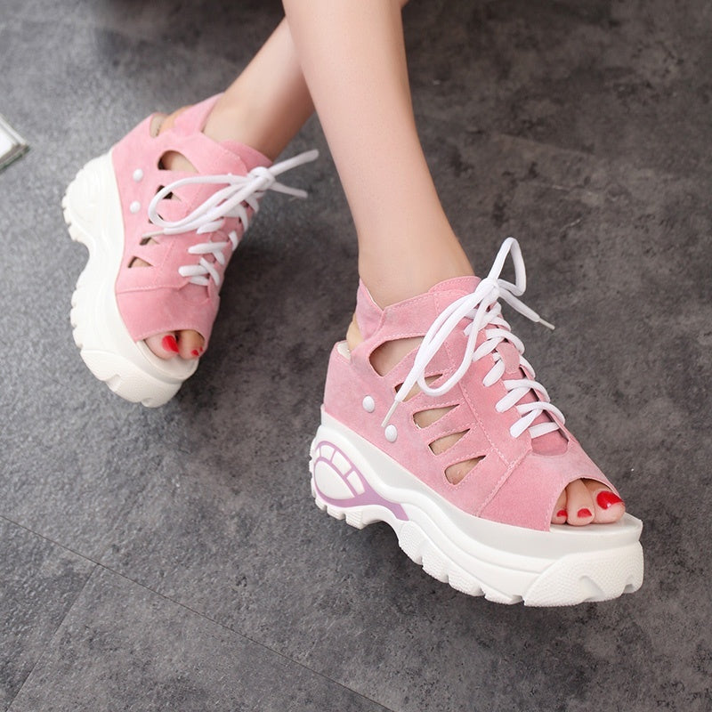 59b4496dec0 Raised Sandals Women's Slope with Water-proof Platform Shoes Summer Women's  Shoes Casual Shoes Wisp of Air-permeable Fish-mouth Shoes
