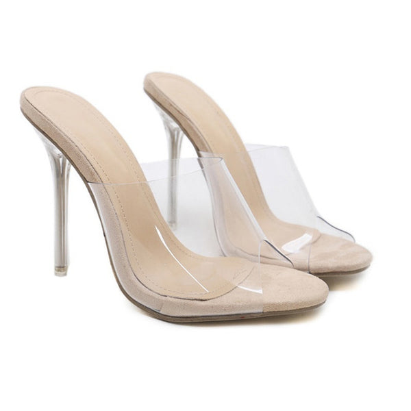 ef09e5e40e ... PVC Jelly Sandals Open Toe High Heels Women Transparent Perspex  Slippers Shoes Heel Clear Sandals ...