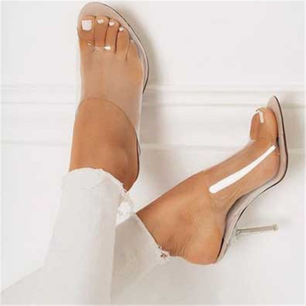 a8914604ef PVC Jelly Sandals Open Toe High Heels Women Transparent Perspex Slippers  Shoes Heel Clear Sandals