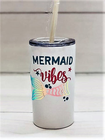 """Mermaid Vibes"" Skinny Mini Tumbler"