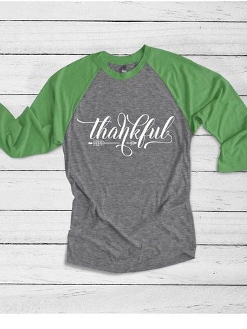 Thankful Thanksgiving Raglan Baseball shirt | Thankful Blessed and Grateful