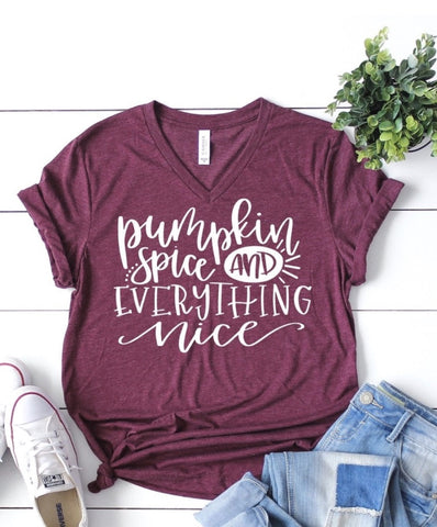 Pumpkin Spice and Everything  Nice V-Neck T-Shirt