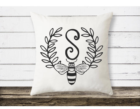 monogram pillow| accent pillow| Bee throw Pillow| Bee Theme