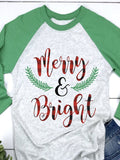 Merry and Bright Christmas Raglan T-Shirt