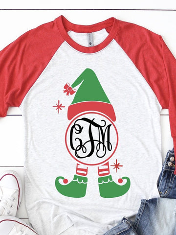 Monogram elf Christmas Shirt