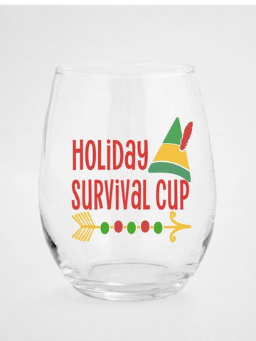 Holiday Survival Cup Christmas Wine Glass