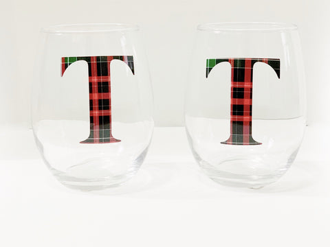 Christmas wine glasses| Monogrammed wine glass stemless