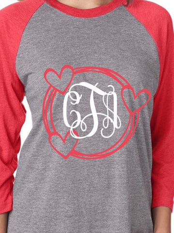 Valentines Day Raglan Shirt Heart Monogram