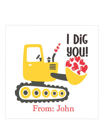 I Dig You! Valentine's day sticker / tag  | Boys Valentine's Day Classroom  Cards