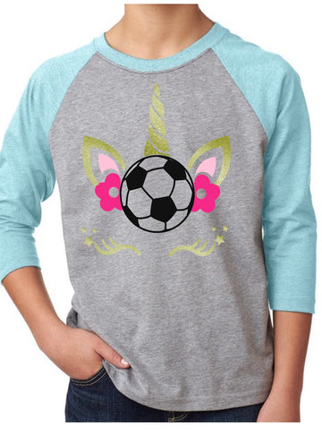 Unicorn Soccer/Volleyball Youth Raglan T-Shirt