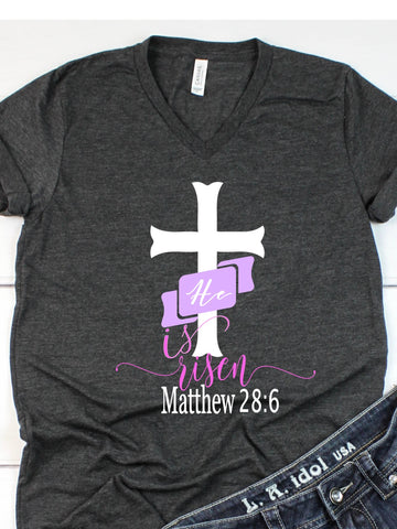 He is Risen- V-Neck T-shirt