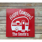 Happy campers personalized camping wooden sign