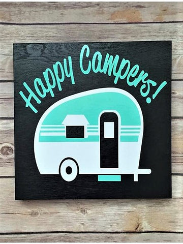 """Happy Campers!"" Wooden Sign"