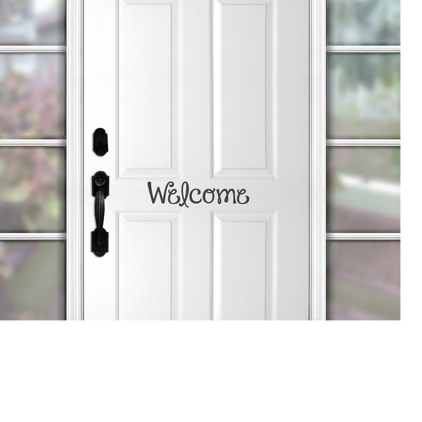 front door welcome decal, welcome sign, porch decor, welcome decal for front door  welcome door sign,
