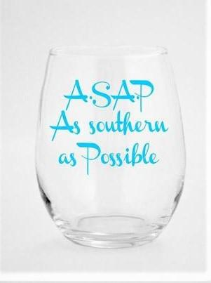 Wine glass with funny saying