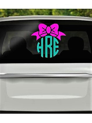 Bow and Monogram Decal