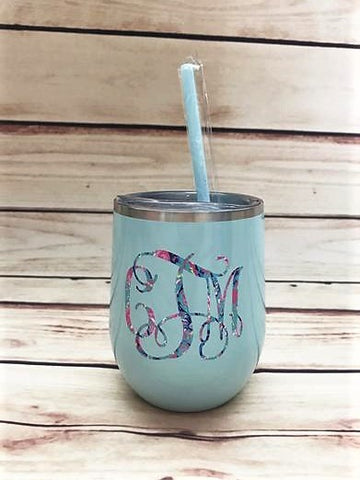 Monogram wine tumbler | Insulated Stainless Steel Wine Tumbler