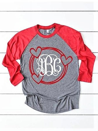 Valentine's Day Heart - Monogram Raglan T-Shirt