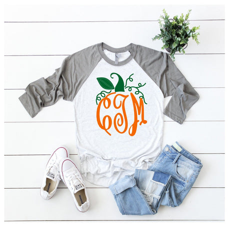 Pumpkin Shape Monogram T-Shirt | Monogram Pumpkin Women's Fall Shirt