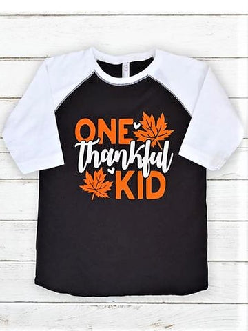 """One Thankful Kid"" Raglan T-Shirt"