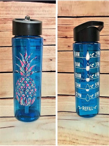 Pineapple Hydration Tracking Skinny Water Bottle
