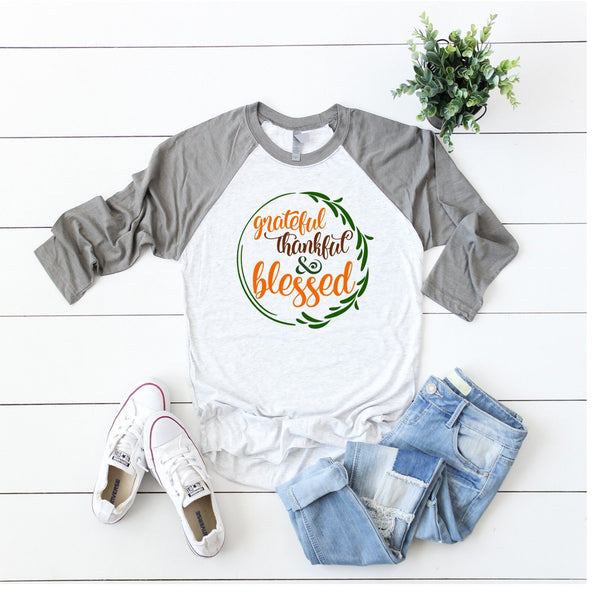 Grateful Thankful and Blessed Women's Fall Shirt | Fall Tee Shirts