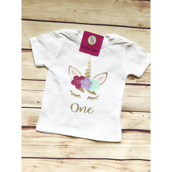 Unicorn birthday celebration children outfit-[product_collection]-Vinylbug Designs