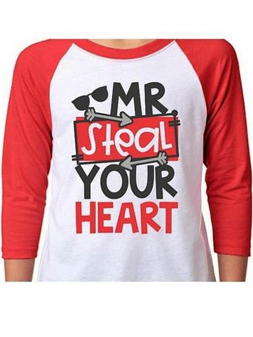 """Mr. Steal Your Heart"" Valentines Day Raglan T-Shirt"