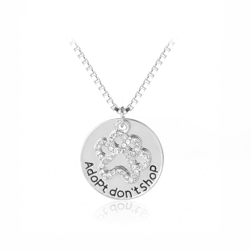 New adopt dont shop crystal paw pendant necklace pet love pendants new adopt dont shop crystal paw pendant necklace aloadofball Images