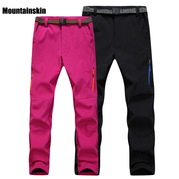 Men Women's Winter Fleece Thermal Softshell Pants Outdoor Sport Brand Clothing Hiking Trekking Skiing Female Male Trousers VA091