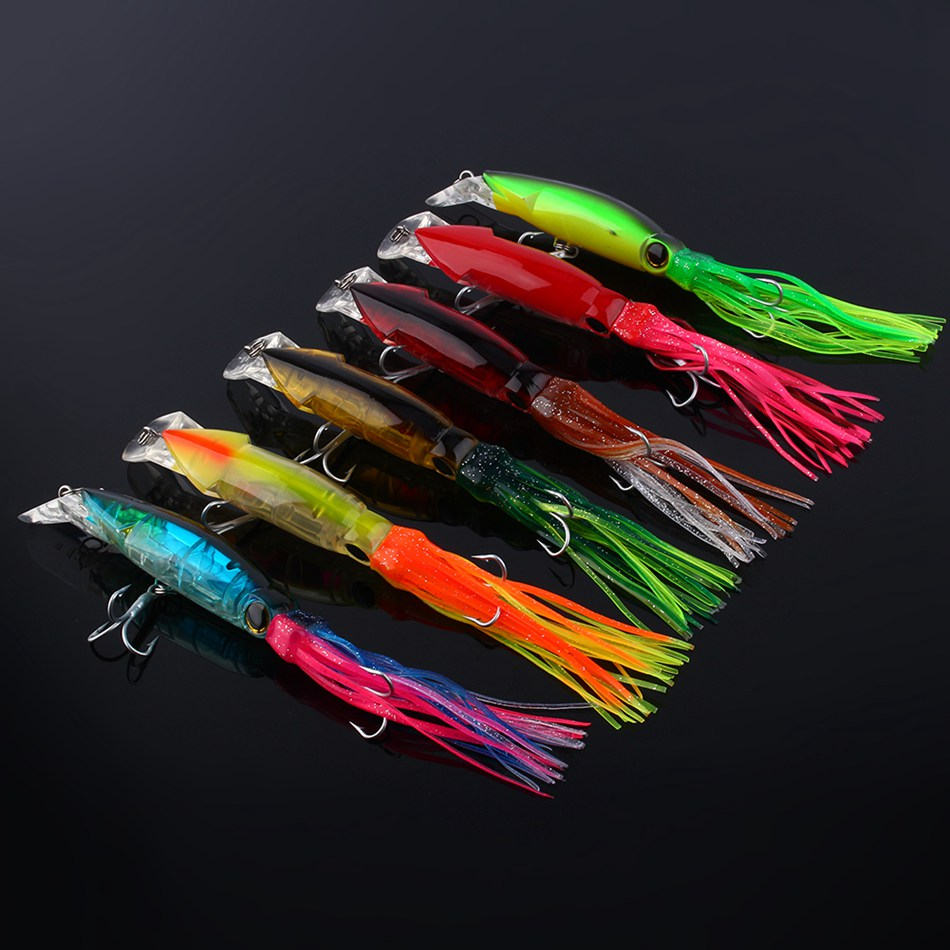 1 pcs Big Size 24cm Fishing Lures Baits 24cm/40g Squid Lures with 2/0 high carbon steel Treble Hook 7 Color available