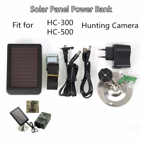 1500mAh Solar Panel Charger EU Plug Battery Power Bank for SUNTEK Hunting Cameras HC300 HC300M HC500 Series Scouting Camera