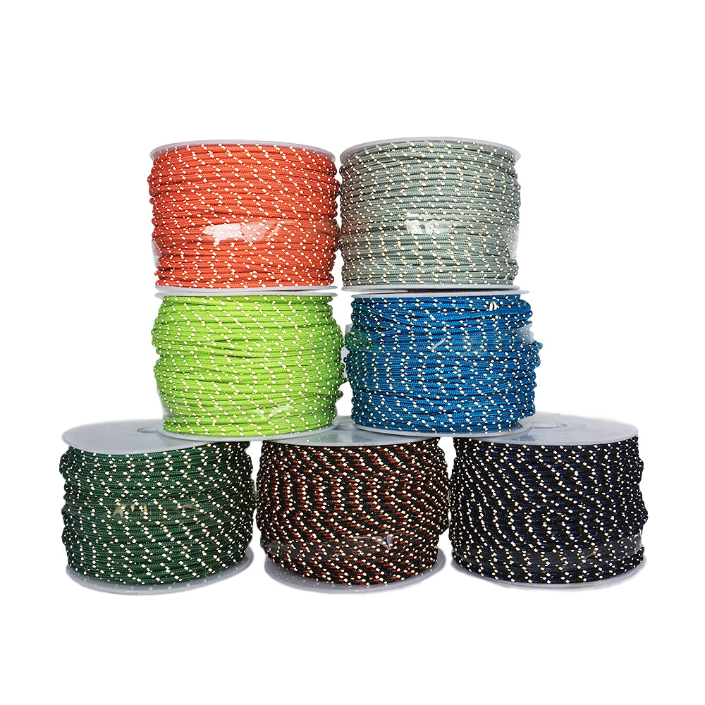 2.5mm 3 strand Reflective Paracord parachute  Tent wind rope multifunctional Bold fixed rope clothesline Multipurpose rope 50m