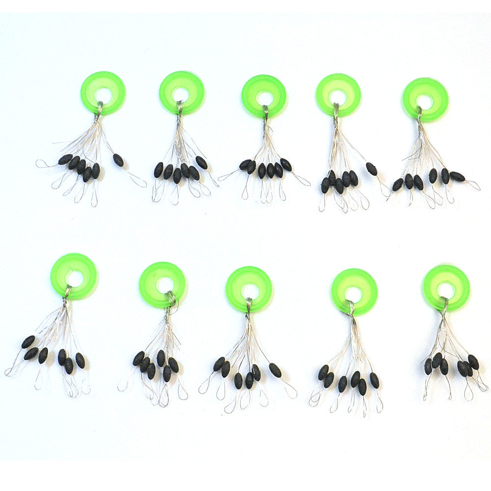 10Pcs/lot 6 in 1 Size L Black Rubber Oval Fishing Tackle Bobber Floater Stopper Float Line Vissen Pesca Acesorios Bobber Stops