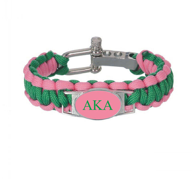 10pcs Custom Greek Letters Sorority And Fraternity ACCESSORIES GIFTS 550 Paracord Bracelets AKA  Adjustable Survival Bracelet