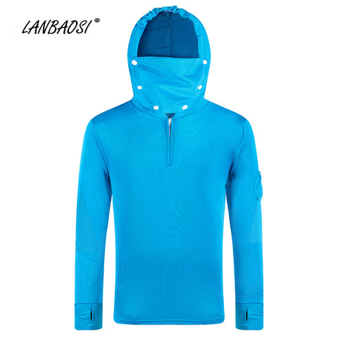 LANBAOSI Men's Quick Dry Angling Fishing Hoodies Clothing Anti-mosquito Bites Breathable Sunscreen Outdoor Jacket Shirts Clothes