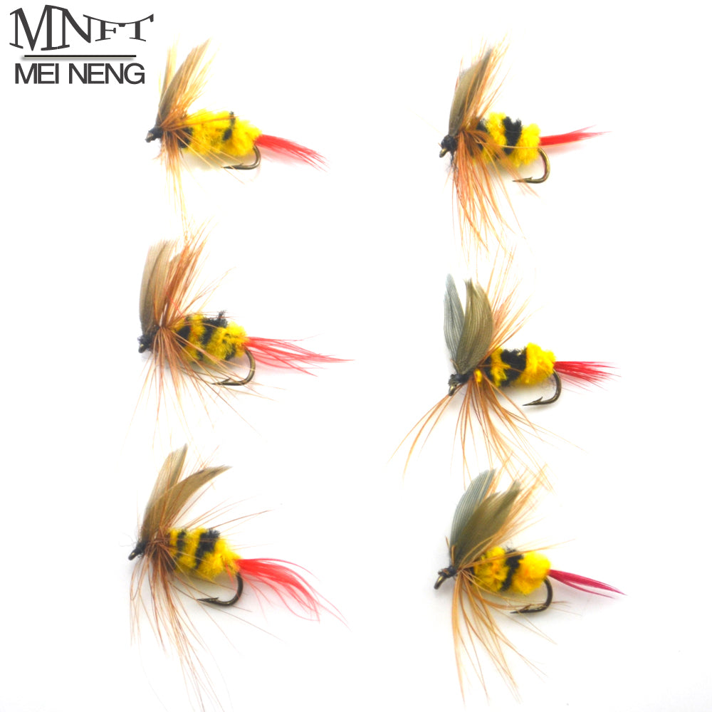 MNFT 6PCS 10# Flies Lure bee fishing Yellow and Black Bumble Bee Fly Insect Artificial Fishing Bait Dry Fly for Trout Fishing