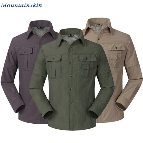 2017 New Quick Drying Outdoor Men Shirts Breathable Removable Clothes Camisa Pesca Sports Fishing Trekking Hiking Clothing RM047