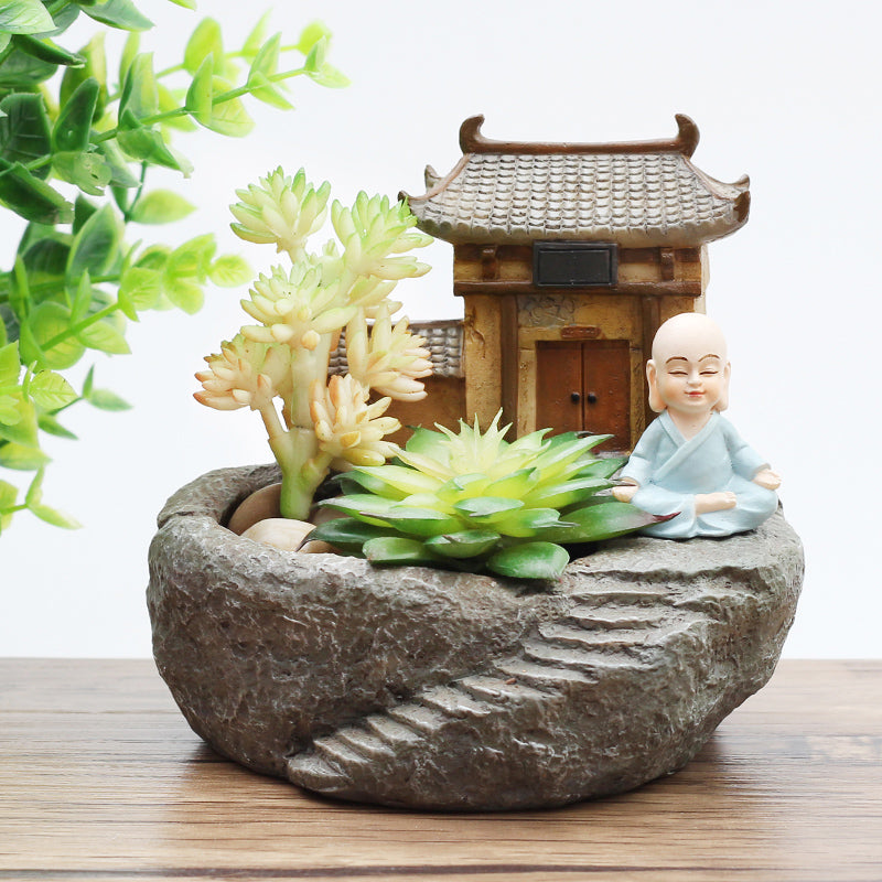 1pc Buddhism Temple Resin Flowerpot Succulent Plants Planter Monk Flower Pot Home Garden Decoration Bonsai Flower Pot FENGSHUI