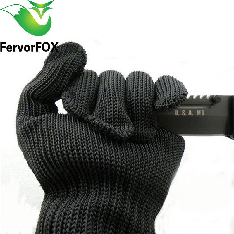 1 Pair Safety Cut Proof Protect Glove 46% Stainless Steel Mesh Camp Gloves for Outdoor sports Camping Climbing for Hiking
