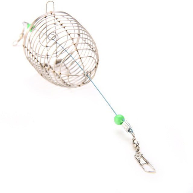1 PCS Bait Cage Fishing Trap Basket Feeder Holder Stainless Steel Wire Coarse Fishing Cage Fish Bait Lure Fishing Accessory